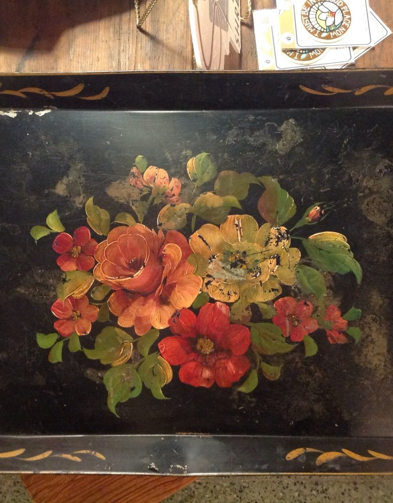 Tray, tole, vintage, metal, painted, rectangle