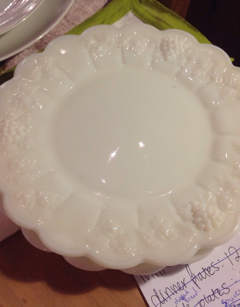 Plate, salad, Westmoreland, milk glass, grape motif, $10 each