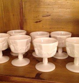 Sherbet glass, dish, footed, milk glass, Westmoreland, grape motif, $8.00 each