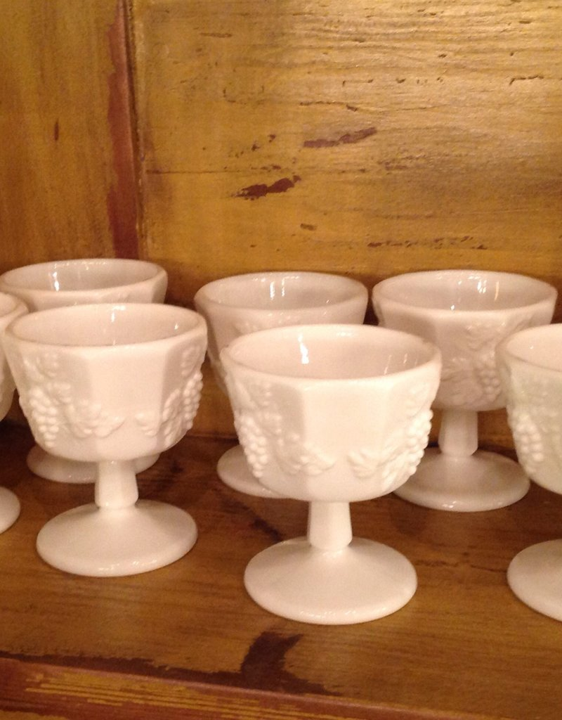 Sherbet glass, dish, footed, milk glass, Westmoreland, grape motif, $8.00 each