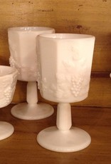 Goblet, milk glass, Westmoreland, grape motif, $5.00 each