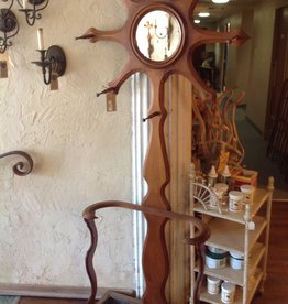 Hall Tree, Walnut, country style, round mirror with pegs, umbrella stand