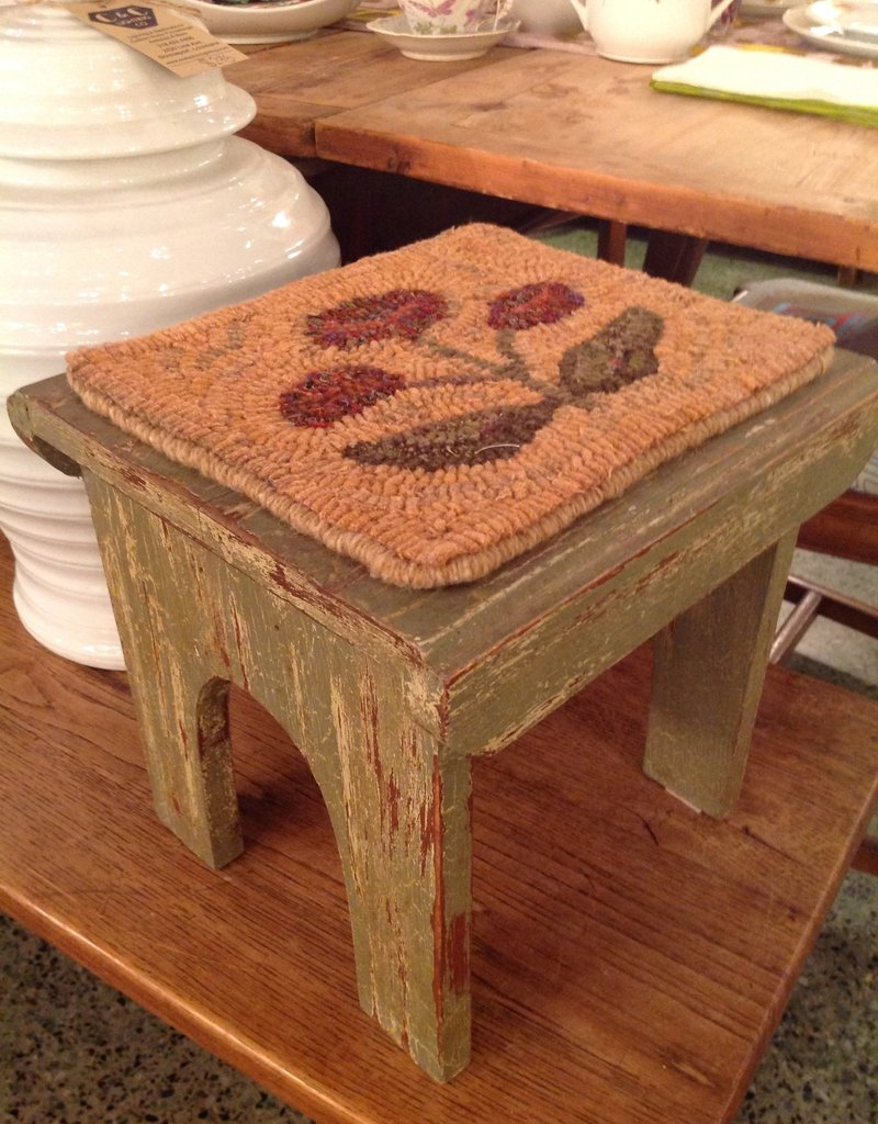 Stool, wooden, vintage, textile, hooked rug top