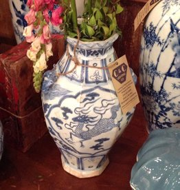 Vase, blue , white, ceramic, oriental