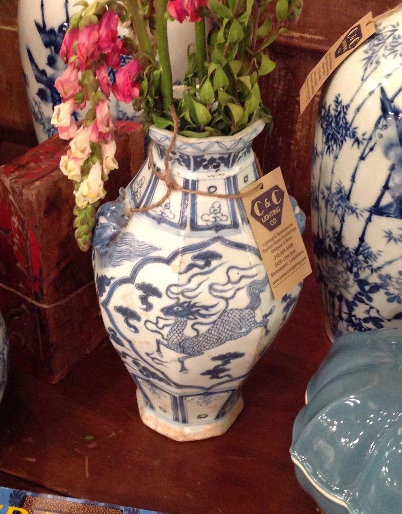 Vase, blue , white, ceramic, oriental