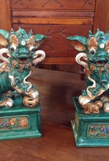 Foo Dogs, Fu, Chinese, guardian lions, pair, ceramic, vintage