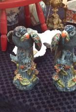 Parrots, pair, ceramic, blue, multicolor