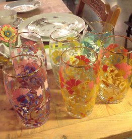 Glass, drinking, tumbler, gold rimmed, painted, flower, set of six