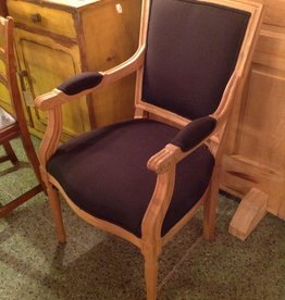 Chair, wooden, black, upholstered, square back, with arms