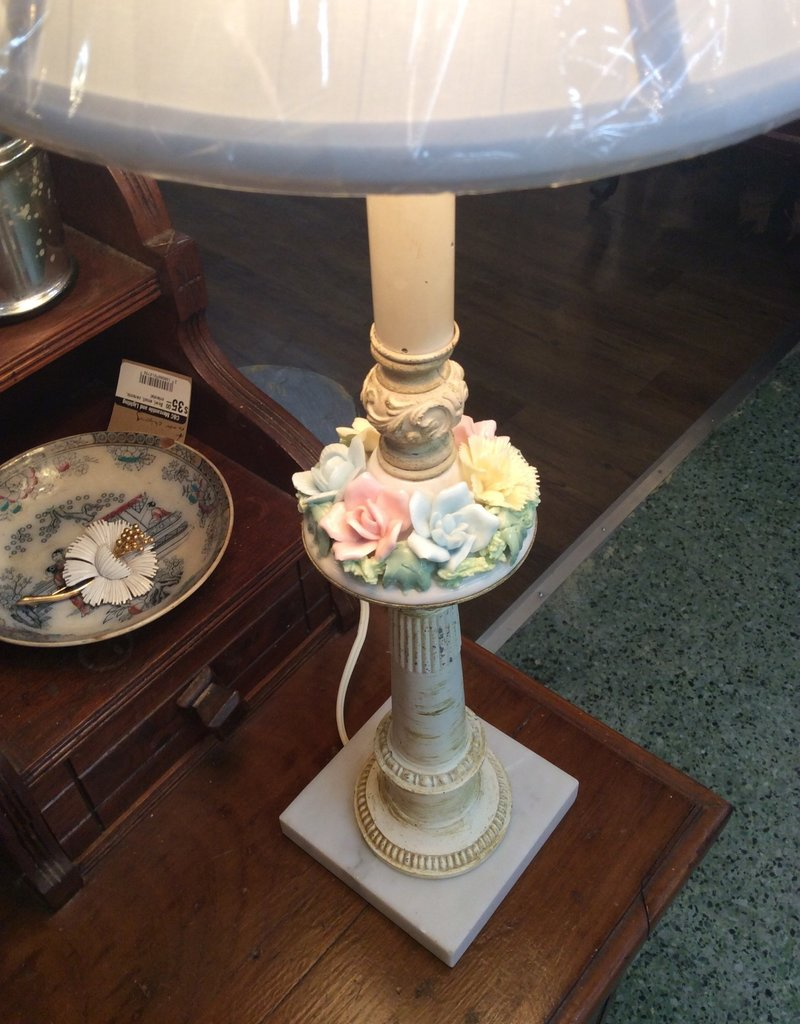 Pair of Table Lamps, painted metal, porcelain flower. Shades sold separately