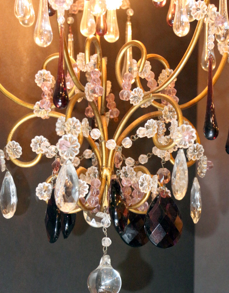 Pendant Light, antique, one light, small, Amethyst colored crystal