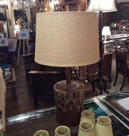 Lamp, table, vintage, salt glaze, ceramic vase, brown