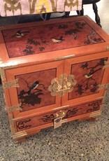 Asian Armoire, Bird Motif, Wooden, with Brass Fixtures