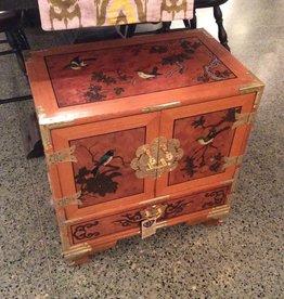 Asian Armoire, Bird Motif, Wooden, with Brass Fixtures