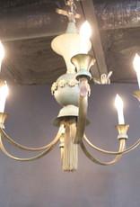 Mid Century Modern Vintage Chandelier, Enameled Steel, With Tassel