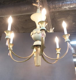 Mid Century Modern Vintage Chandelier, Enameled Steel, With Tassel