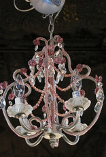 Chandelier, crystal, mini, pink, Italian, four light