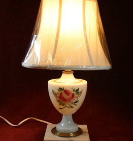 Small Porcelain Table Lamp with Painted Rose