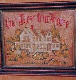 Crewel Work Embroidery Punched Paper Kit Vintage God Bless Our Home Framed Victorian House Sampler
