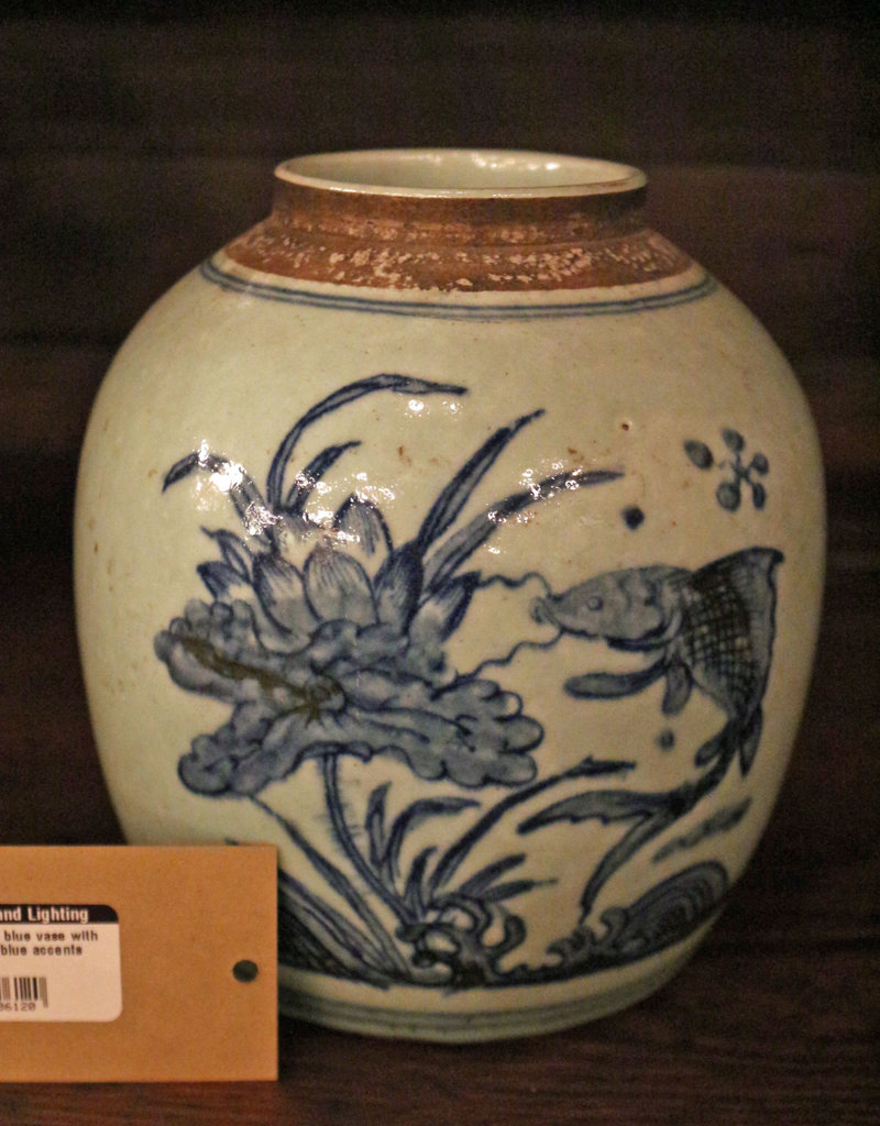 Light blue vase with dark blue accents