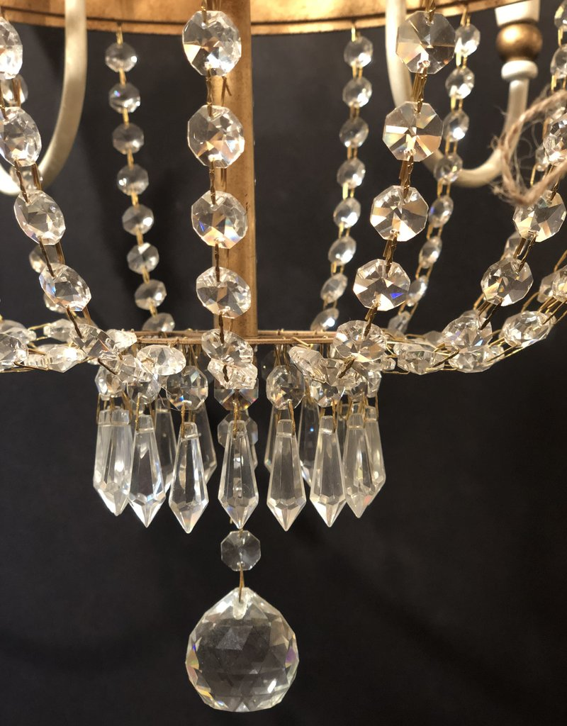 60's Empire White Chandelier w/ Gold Accents