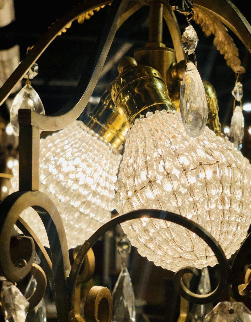 1920's French Raw Brass Chandelier