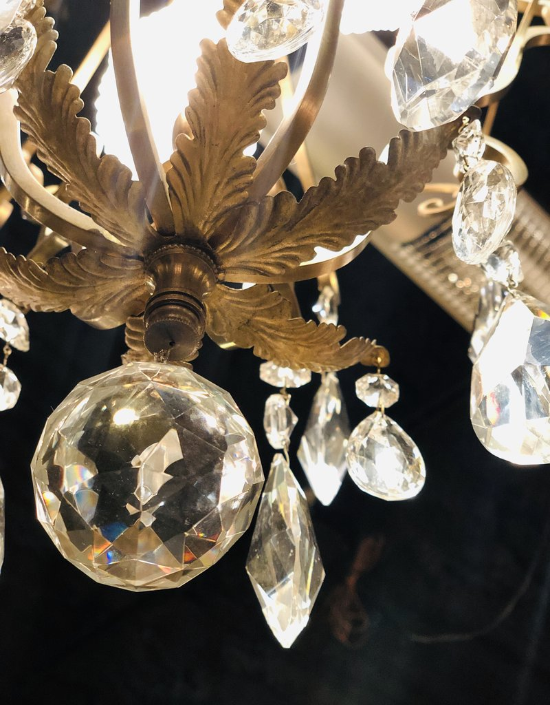1920's French Raw Brass Chandelier