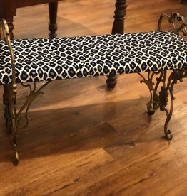 Bench, iron, painted, gold, upholstered, blue and black