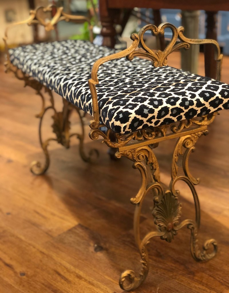 Bench, iron, painted, gold, upholstered, blue black