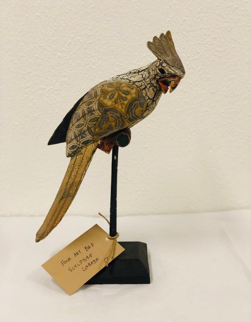 Vintage carved cockatoo cockatiel folk art sculpture painted bird on stand