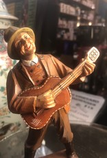 Hand carved wooden guitar man folk art figurine