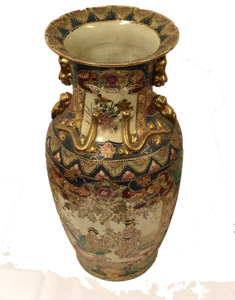 Antique Hand Painted Oriental Urn