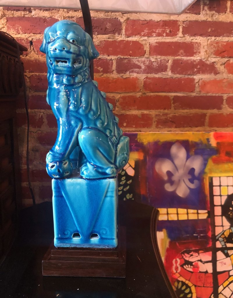 Pair of Blue Foo Dogs Lamps