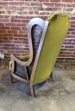 Furniture, Vintage Chair Green Velveteen