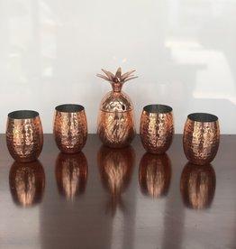 Glass Set, Pineapple Shaker w/ 4 glasses, Copper & Hammered