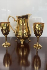 Glass set, 24KT Gold Drinking Pitcher w/ 8 glasses