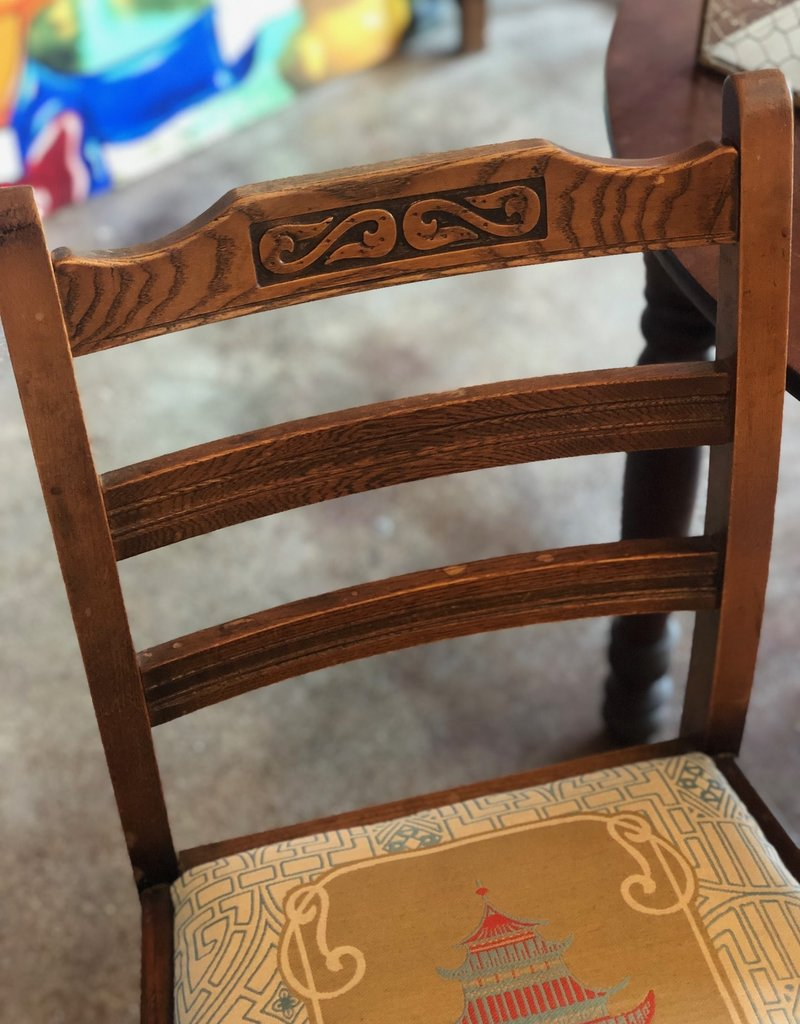 Chair, Wooden Antique, Reupholstered Asian Vibe
