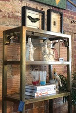 Furniture, Antique Brass Etagere (5 shelves, 5 glass panels)
