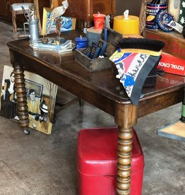 Furniture, Antique, Wooden table on wheels