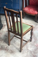 Vintage Wooden Dining Room Chair, Green upholstery