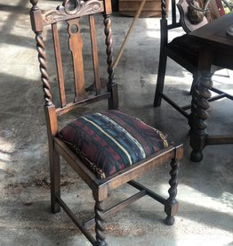 Barley Twist Chair, Vintage Upholstery (Set of 4 Available)