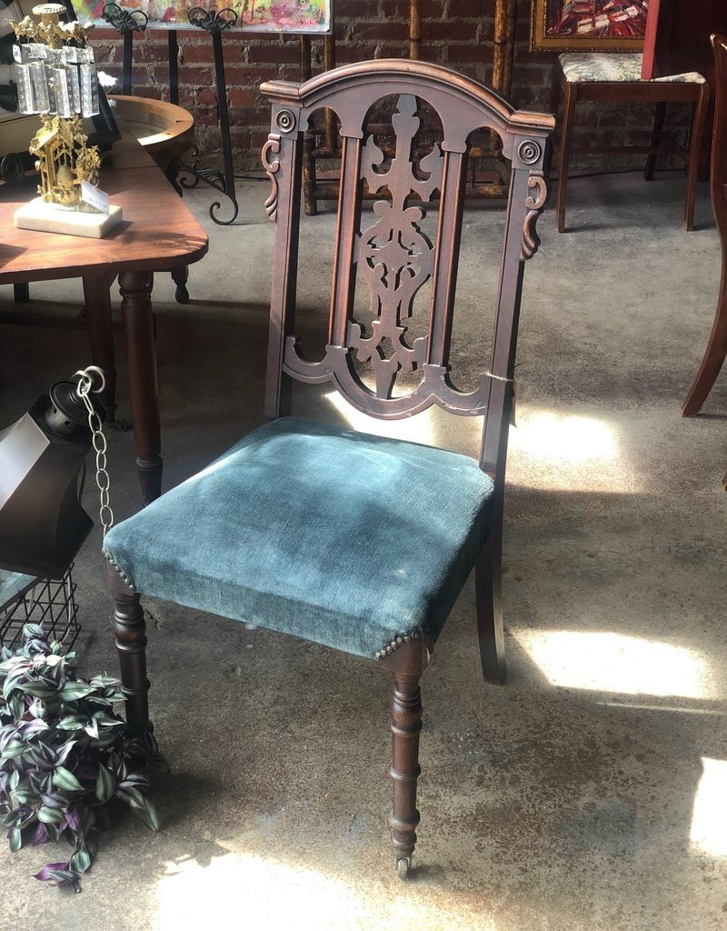 Antique Formal Dinner Chair, Vintage Blue Upholstery