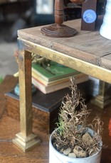 Industrial Gold Leaf & Wooden Table Stool
