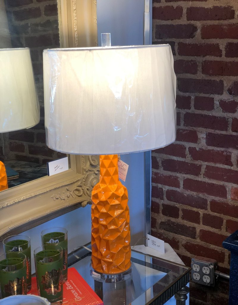 Table Lamp, Orange Geometric Crushed Lamp with acrylic base, shade included