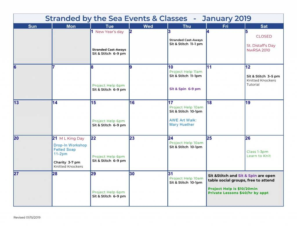 Calendar of Events – Jan 2019