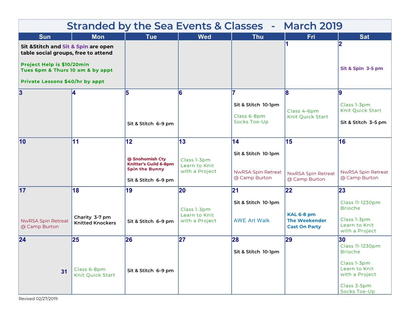 Calendar of Events – March 2019