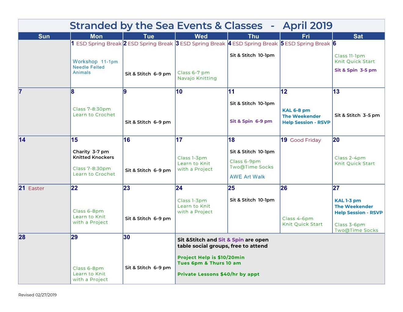 Calendar of Events – April 2019
