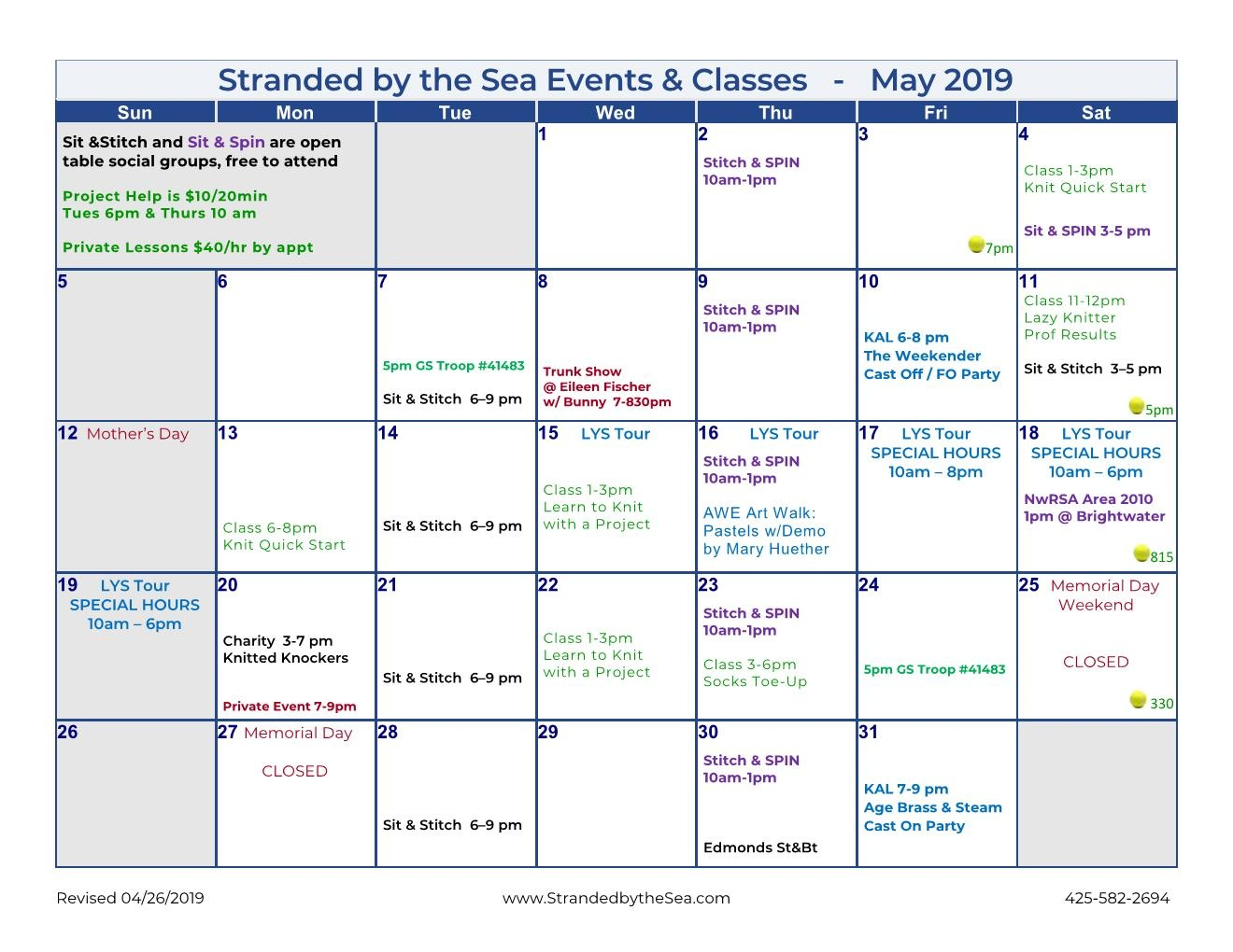 Calendar of Events – May 2019