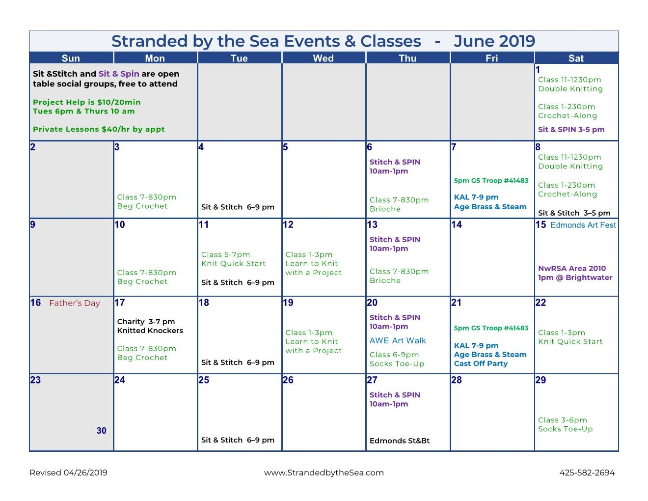 Calendar of Events – June 2019