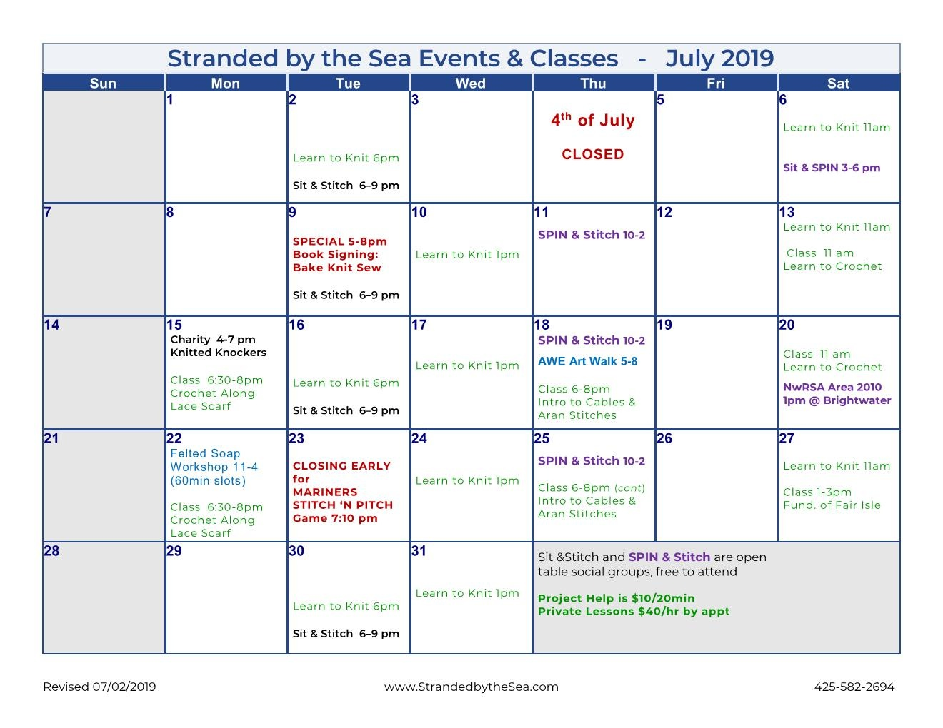 Calendar of Events – July 2019